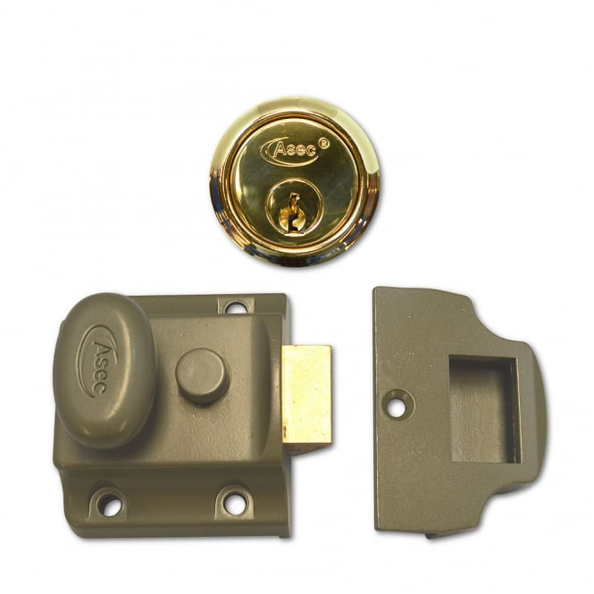 Asec Green 40mm Traditional Non-Deadlocking Nightlatch With Polished Brass Cylinder