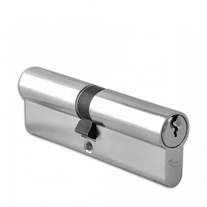 Asec Nickel Plated 100mm 6-Pin Euro Double Cylinder - 50/50