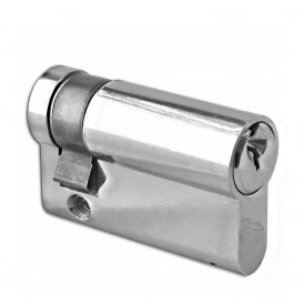 Nickel Plated 50mm 6-Pin Euro Half Cylinder