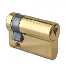 Polished Brass 45mm 6-Pin Euro Half Cylinder