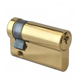 Polished Brass 50mm 6-Pin Euro Half Cylinder
