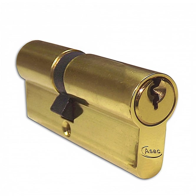 Asec Polished Brass 60mm 5-Pin Euro Double Cylinder - 30/30