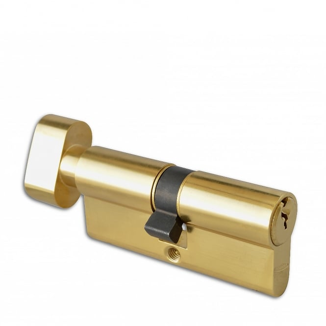Asec Polished Brass 80mm 6-Pin Euro Double Key & Turn Cylinder - 40 / T40