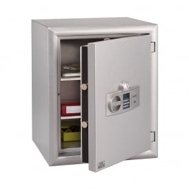 Metallic Silver Electronic Combination and Finger Scan Diplomat Fire Safe