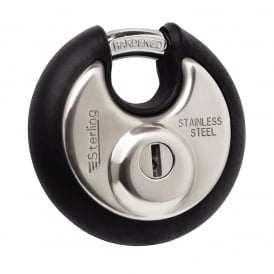 70mm Stainless Steel Disc Padlock with Black Bumper