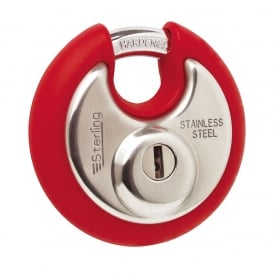 70mm Stainless Steel Disc Padlock with Red Bumper