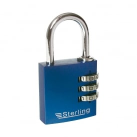 Blue 30mm 3 Dial Anodised Alumium Combination Padlock