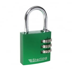 Green 30mm 3 Dial Anodised Alumium Combination Padlock