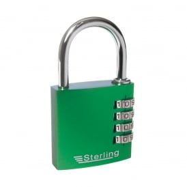 Green 40mm 4 Dial Anodised Alumium Combination Padlock