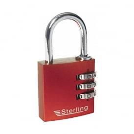 Red 30mm 3 Dial Anodised Alumium Combination Padlock