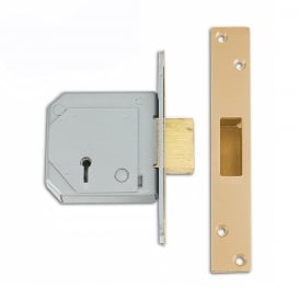 Polished Brass 67mm 3G114E British Standard 5 Lever Deadlock