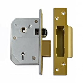 Polished Brass 67mm 3K74E British Standard 5 Lever Sashlock
