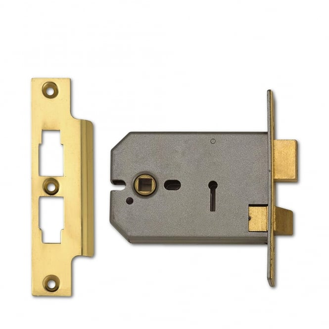 Union Polished Brass 127mm 2077 Horizontal 3 Lever Sashlock