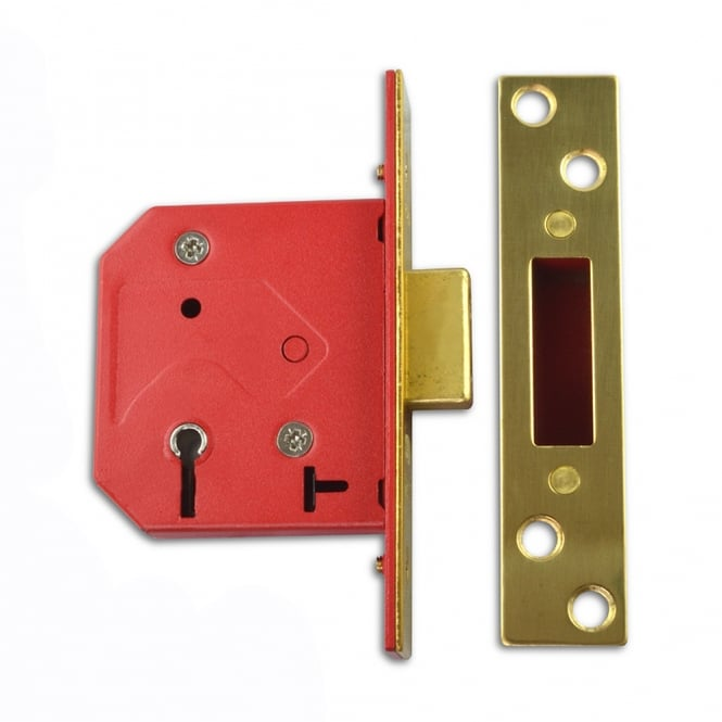 Union Polished Brass 64mm 2101 5 Lever Deadlock