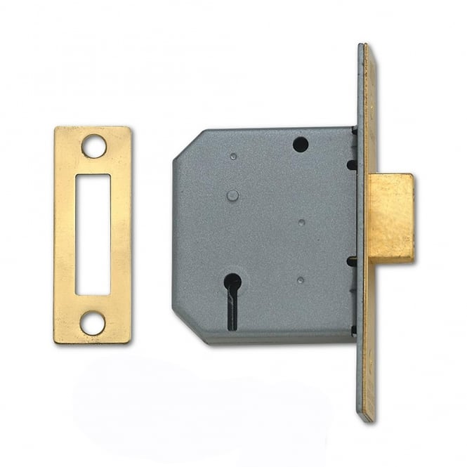 Union Polished Brass 64mm 2177 3 Lever Deadlock