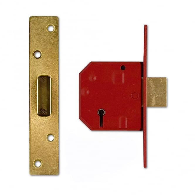 Union Polished Brass 67mm 2134E British Standard 5 Lever Deadlock