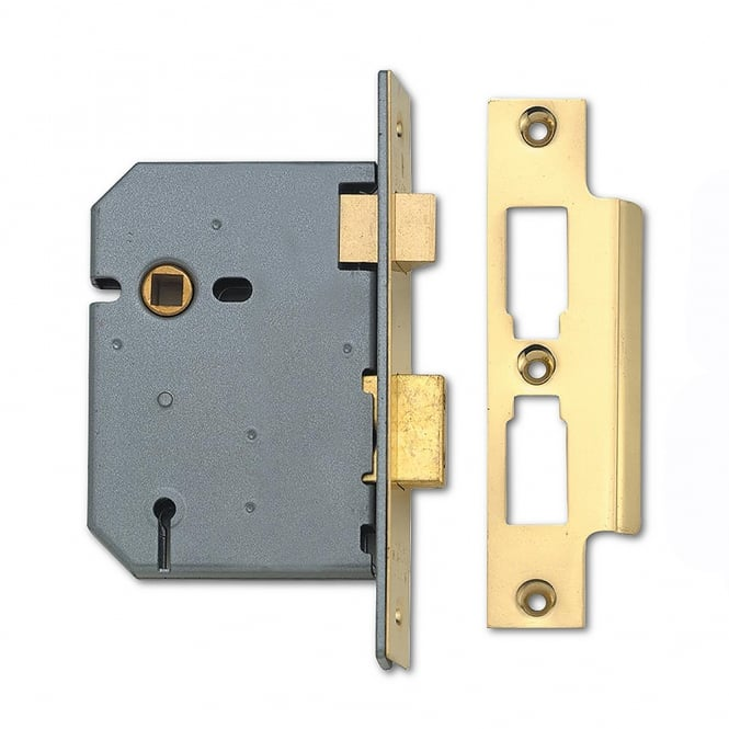 Union Polished Brass 75mm 2277 3 Lever Sashlock