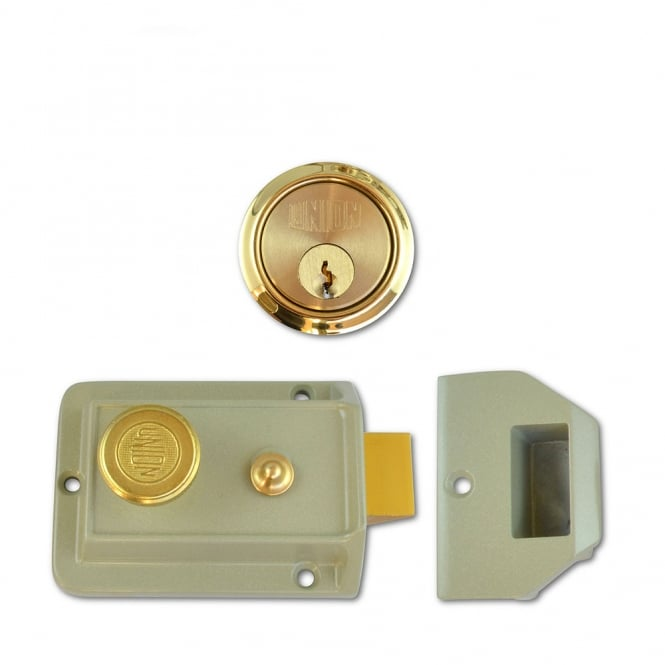 Union Polished Lacquered Brass 60mm 1022 Non-Deadlocking Nightlatch
