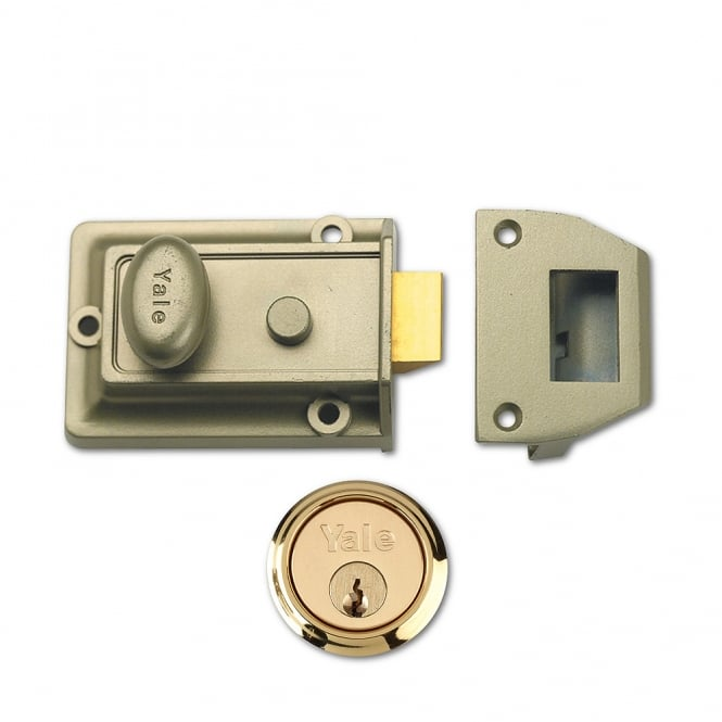Yale Bronze 77 60mm Traditional Nightlatch with Polished Brass Cylinder