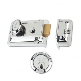 Chrome 77 60mm Traditional Nightlatch with Chrome Cylinder