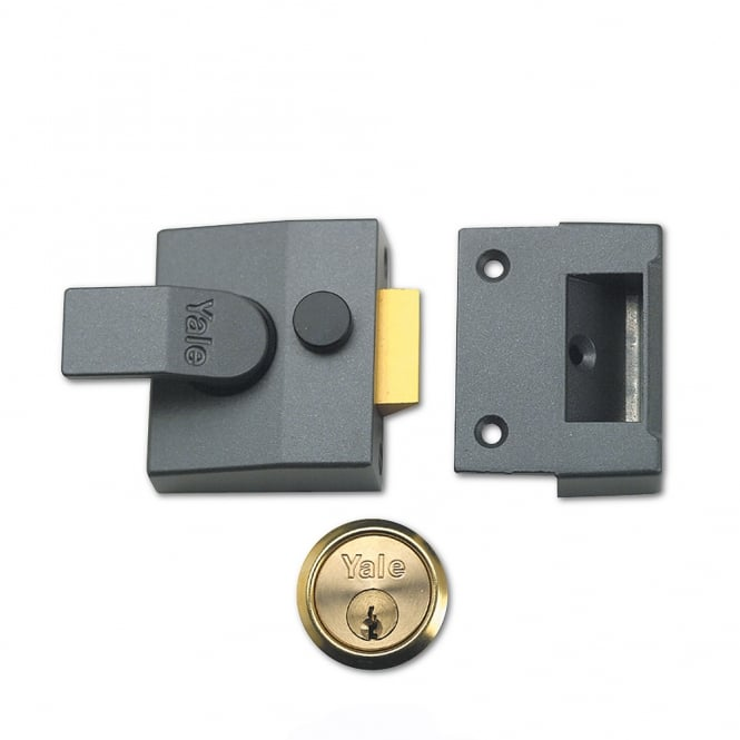 Yale Dark Grey 85 40mm Deadlocking Nightlatch with Polished Brass Cylinder